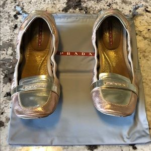 Prada Silk Wash Mirror Flats